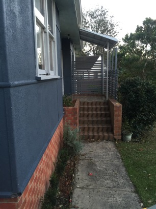 stairs with the screen and new garden